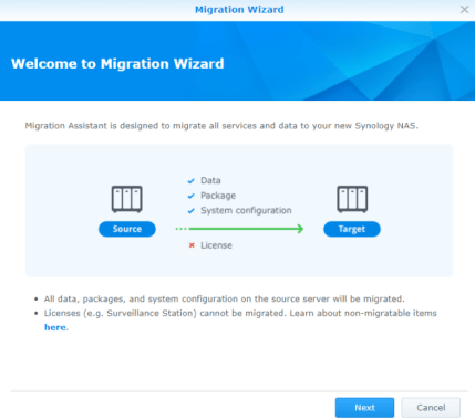 Migrate data from old Synology to a new DS718+ / DS918+ and others
