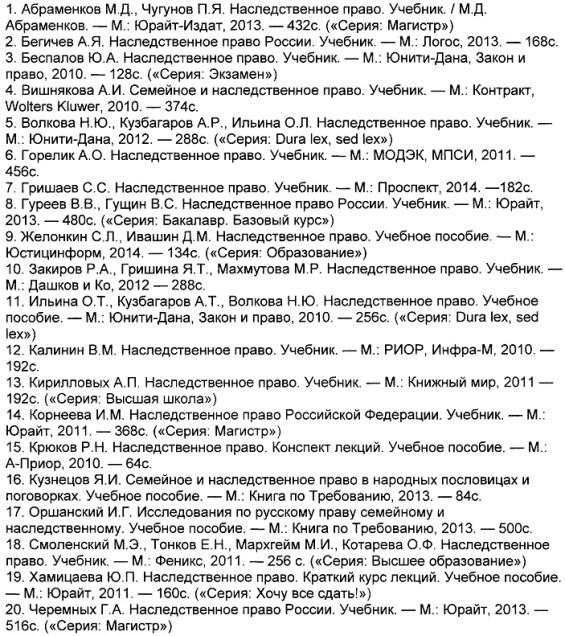 список литературы 2013 по наследственному праву