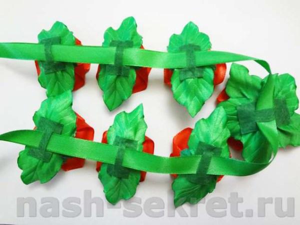 Лента в косу с цветами канзаши мастеркласс пошагово