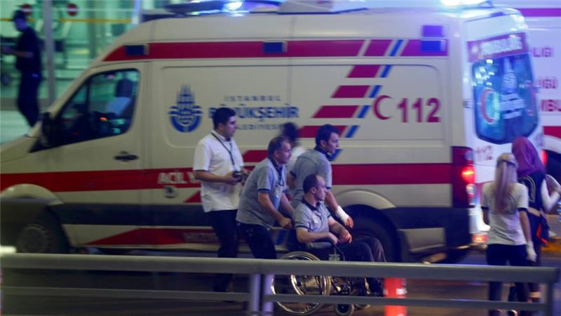 Ambulances rushed to the airport after the attack [Osman Orsal/Reuters]