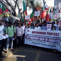 Popular Front of India protests Jharkhand's ban in Bengaluru