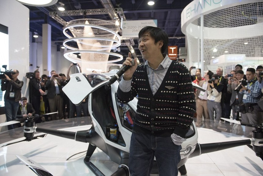 President/CEO Hu Huazhi of EHang unveils the 184 Autonomous Aerial Vehicle at CES Las Vegas from the Las Vegas Convention Center in Las Vegas, Nev., on Wednesday Jan. 6, 2015. (Martin S. Fuentes for DailyMail.com)