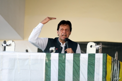 Pakistan's Prime Minister Imran Khan speaks during a rally in Muzaffarabad, Sept. 13, 2019.