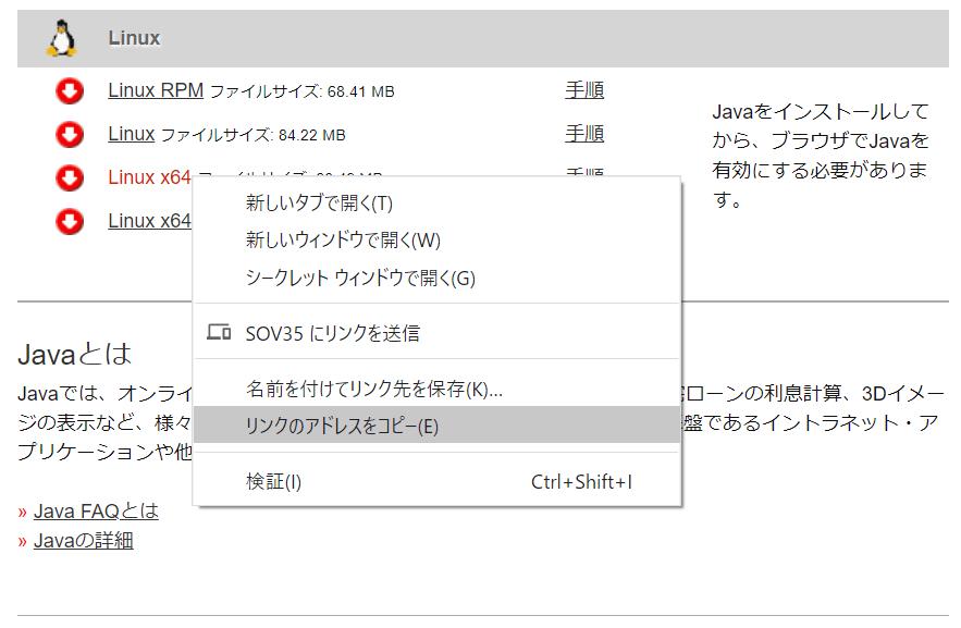 linux java ダウンロード wget
