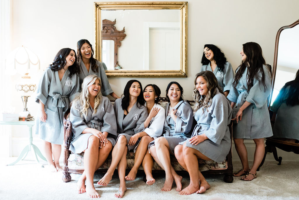Bridal party getting ready for RIverwood Mansion wedding captured by Maria Gloer Photography
