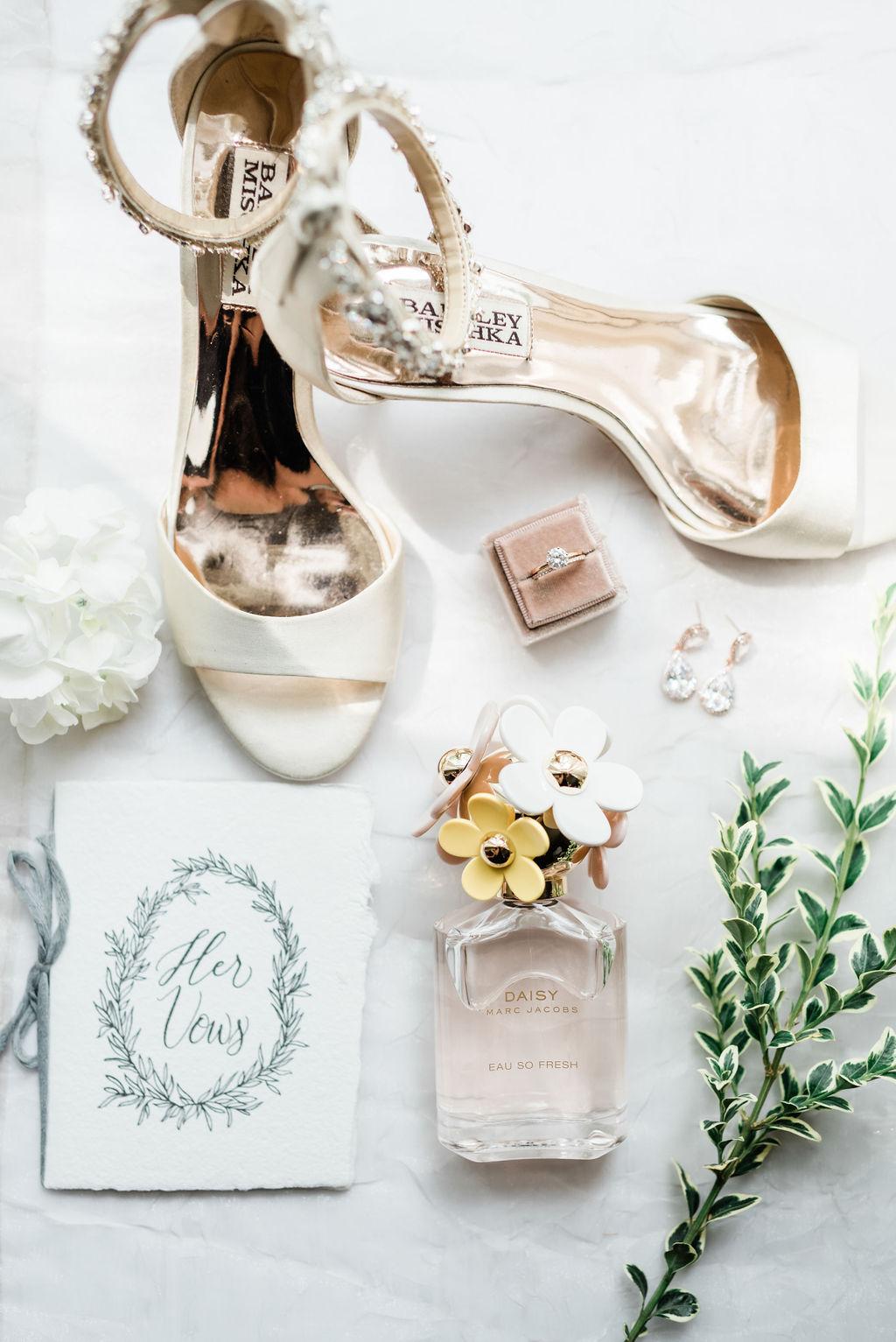 Badgley Mischka Bridal Shoes: Elegant Riverwood Mansion wedding featured on Nashville Bride Guide