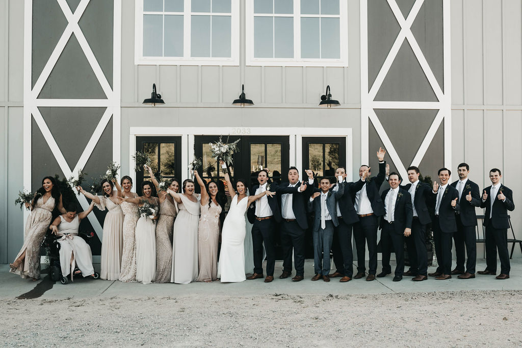 wedding party celebrating at Allenbrooke Farms