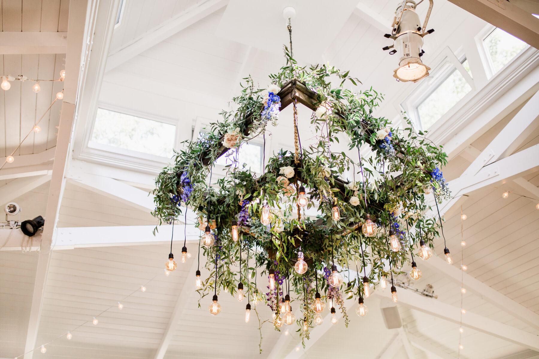 Hanging floral chandelier with Edison bulbs   Nashville Bride Guide