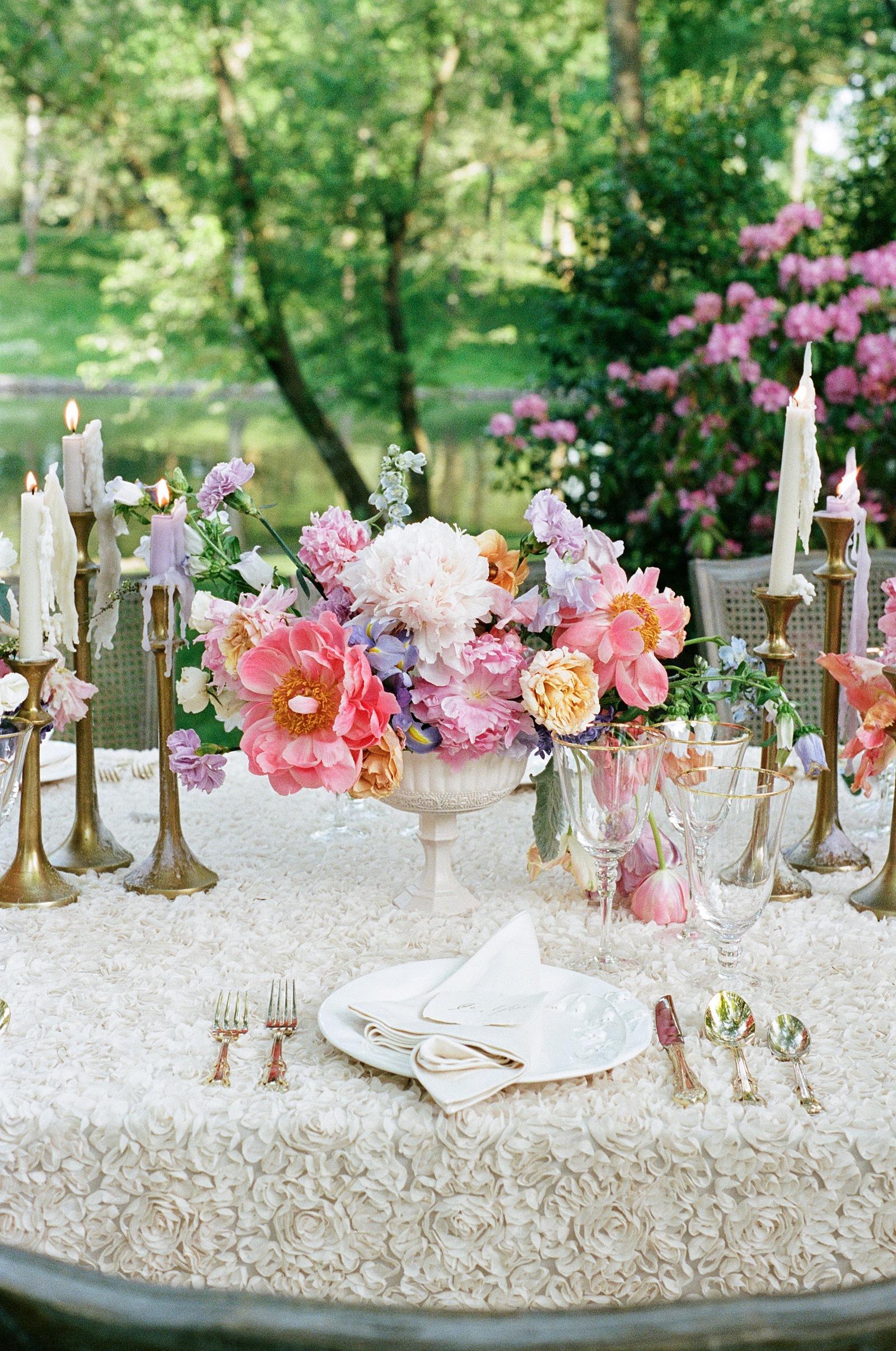 Watercolor wedding centerpieces