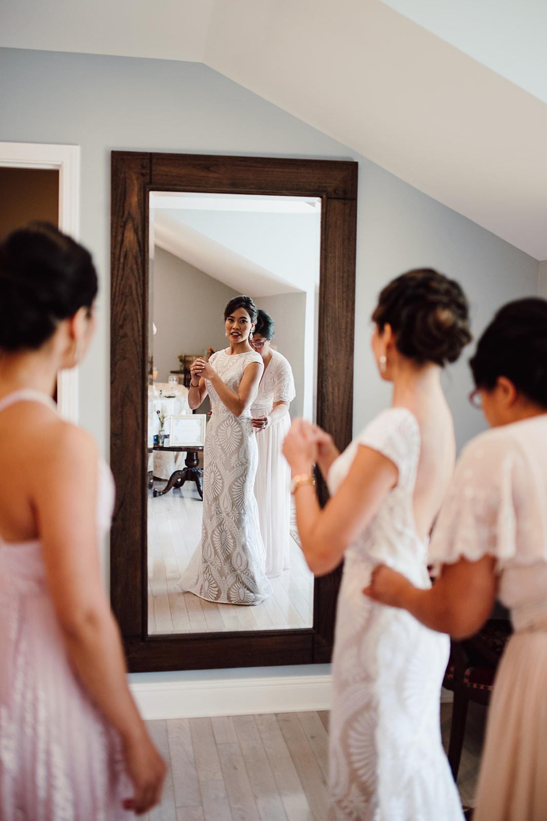 Getting ready wedding portrait
