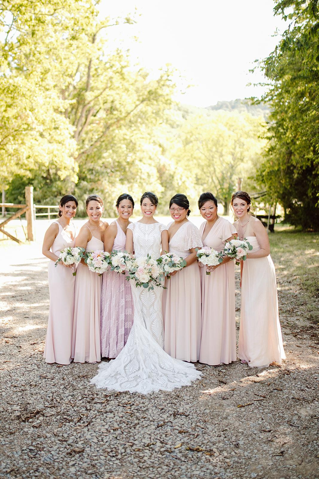 Long pink bridesmaids dresses