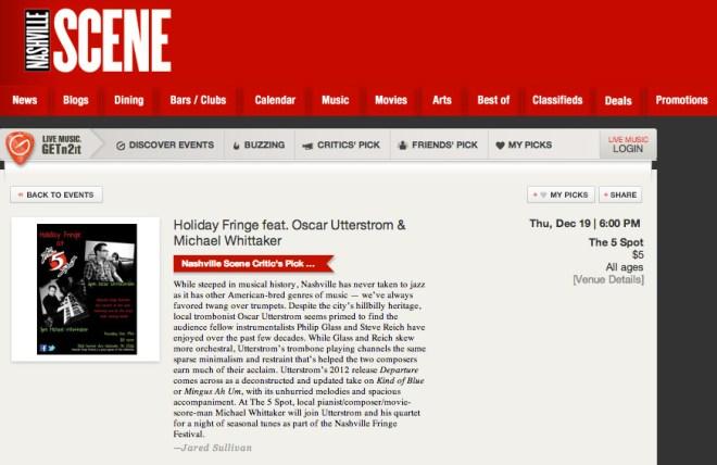 Nashville Scene Critics Pick Oscar Utterstrom Michael Whittaker