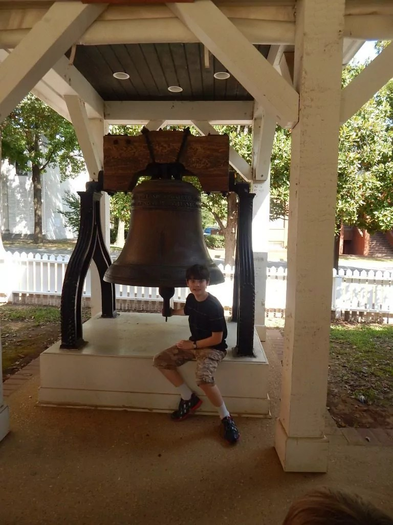 Consitutional Village - Ringing the Liberty Bell replica