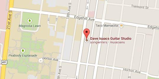 Map of Dave Isaacs Guitar Studio