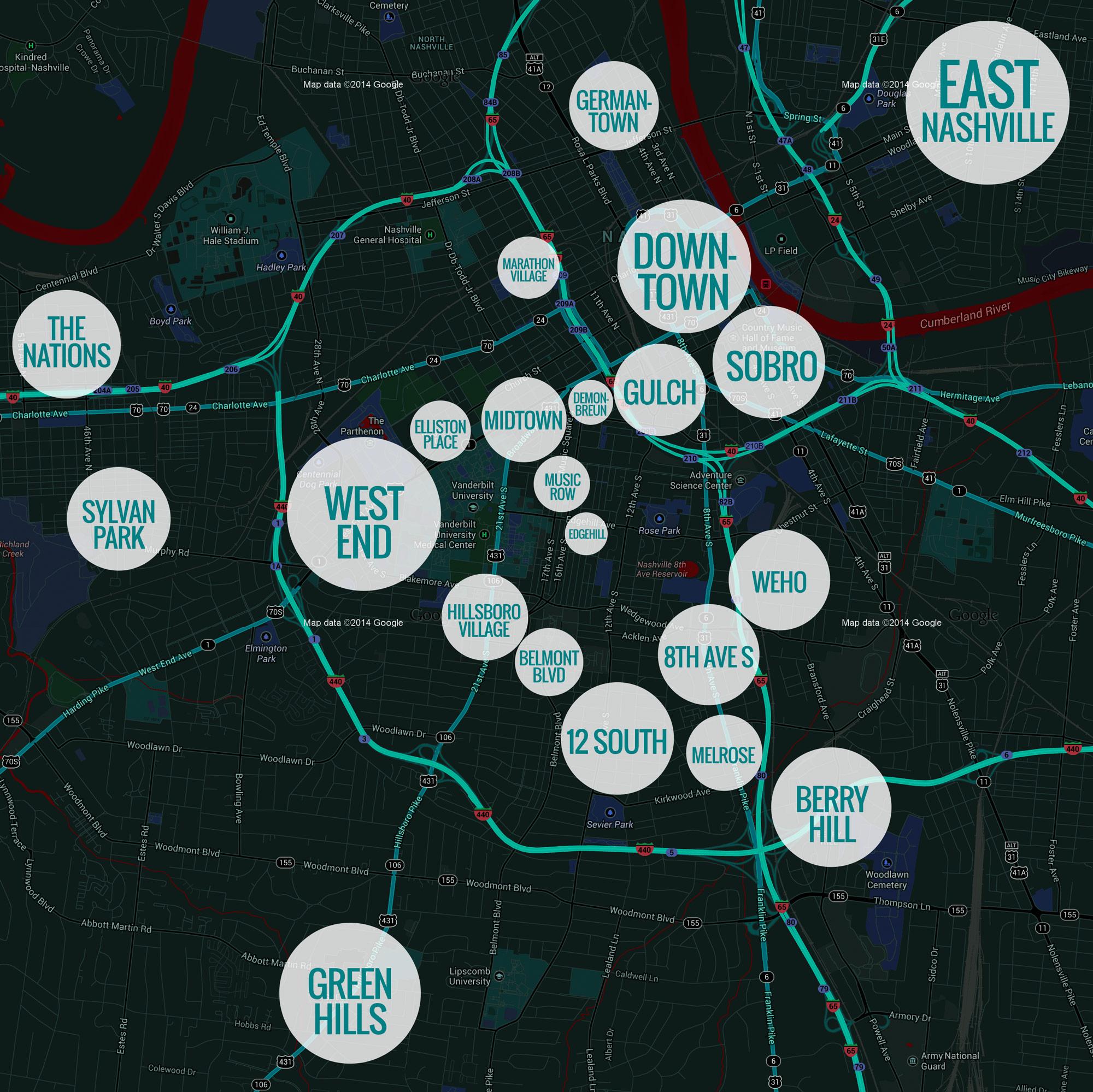 Image result for nashville neighborhoods map
