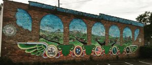 Street art mural depicting places in East Nashville (now gone)
