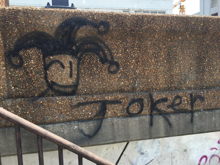 Joker graffiti street art mural Nashville