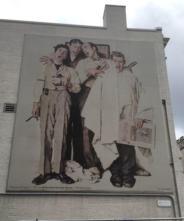 Barbershop quartet mural street art Nashville