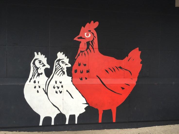 Chickens mural street art Nashville