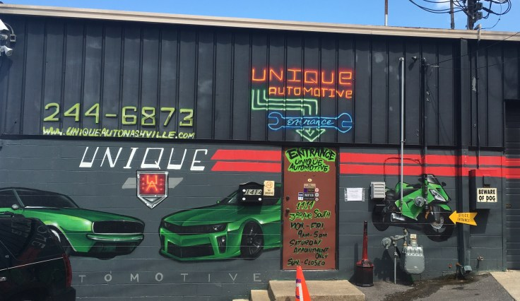 Green car mural street art Nashville