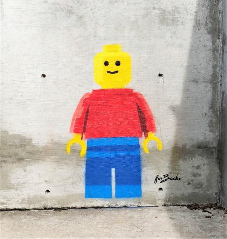 Lego man mural street art Nashville