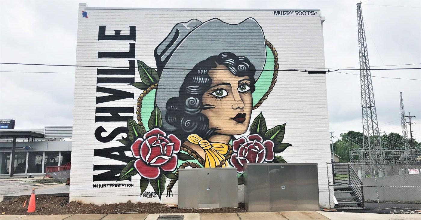 Cowgirl mural street art Nashville