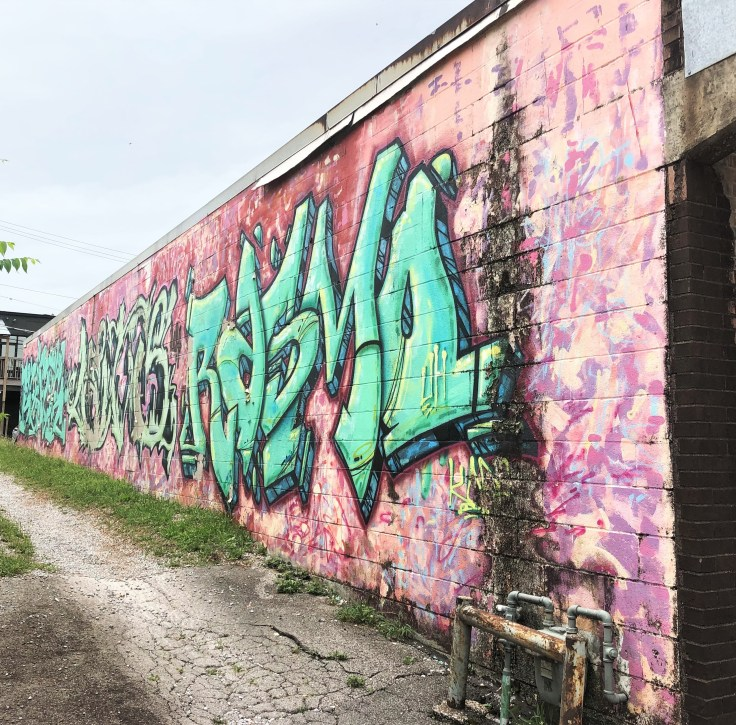 Pink Graffiti mural street art Nashville