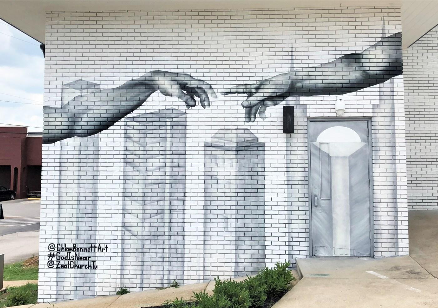 Creation Hands mural street art Nashville