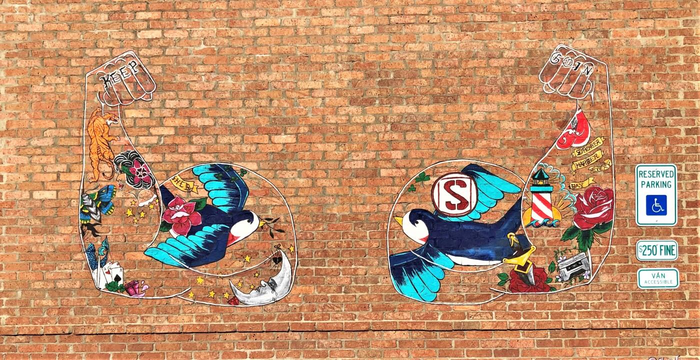 Shed arms Mural street art Nashville
