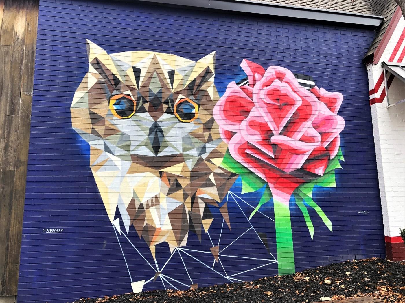 Rose Owl Mural street art Nashville