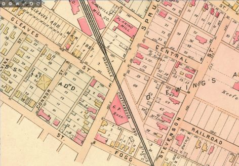 Lower Eighth Avenue Map 1889 Nashville