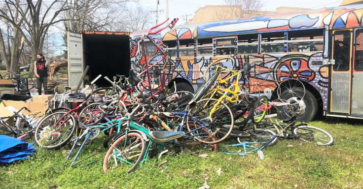 Bike Sculpture street art Nashville tornado