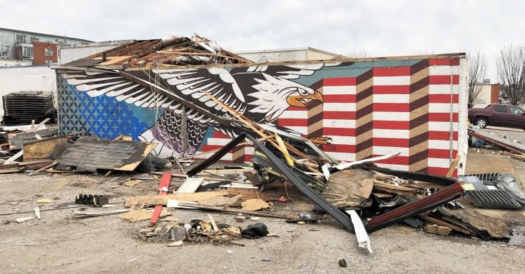 Eagle Mural street art Nashville tornado