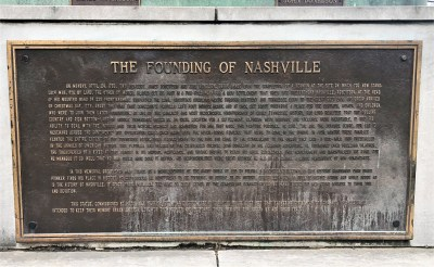 Historical marker describing the Founding of Nashville