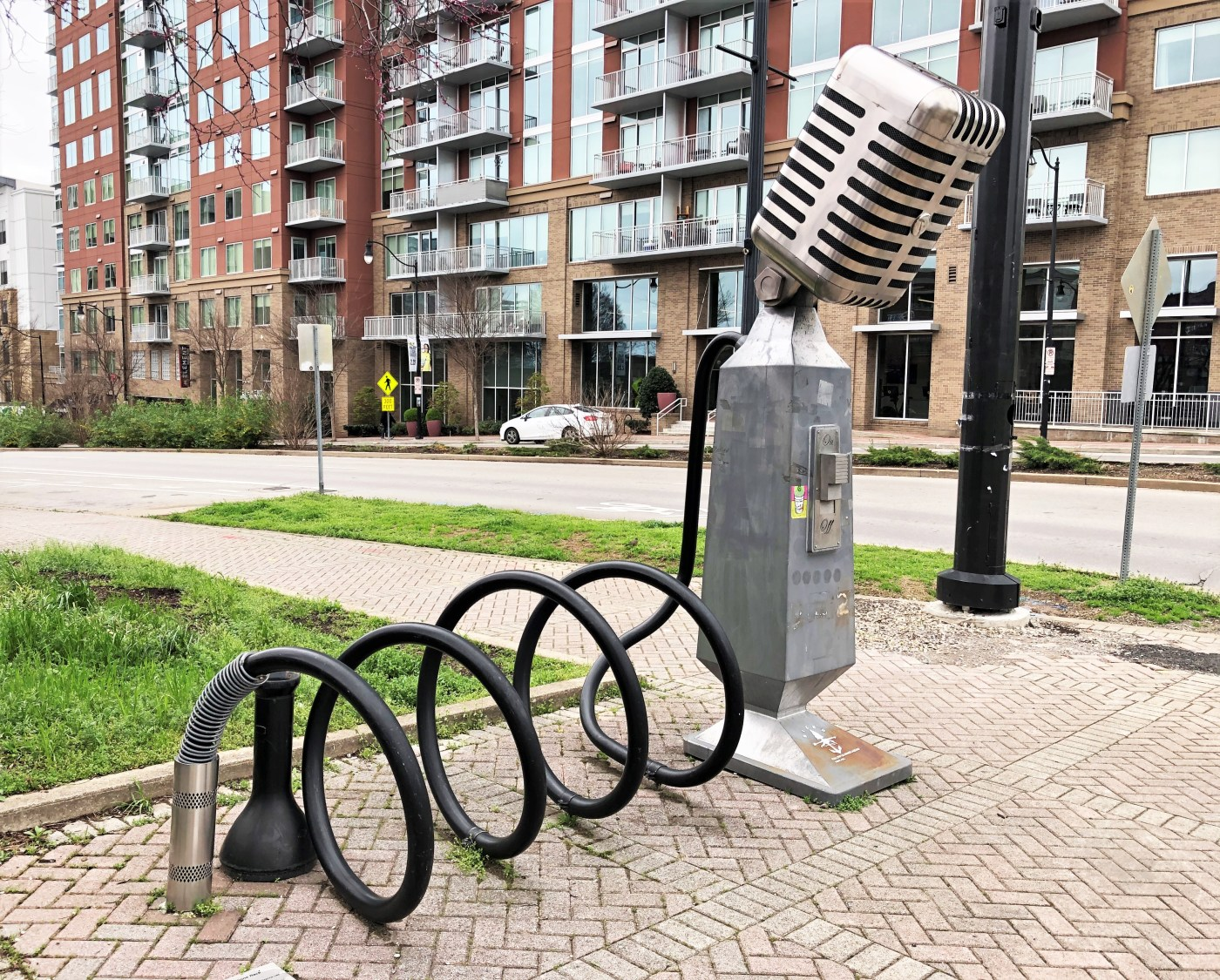 Microphone Bike Rack sculpture street art Nashville