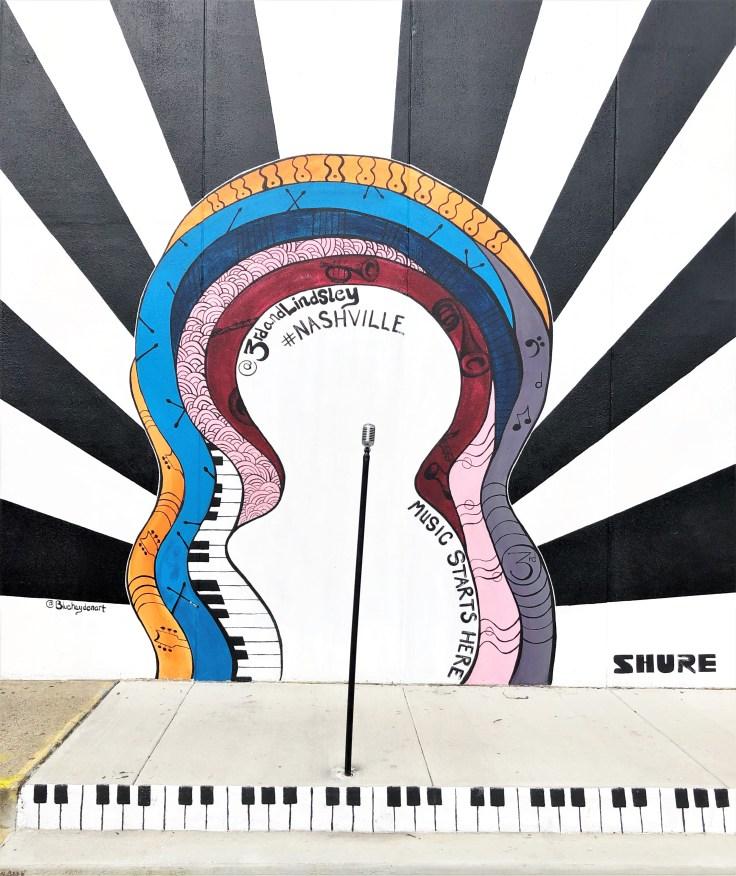 Music Microphone mural Nashville street art