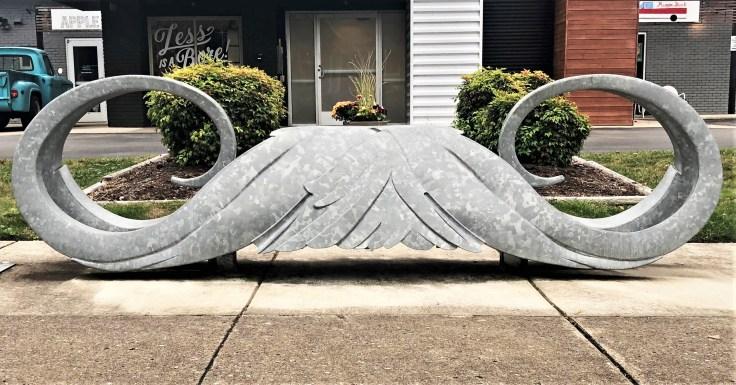 Mustache sculpture Nashville street art
