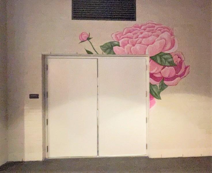 Pink flower mural Nashville street art