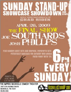 The Final Sunday Stand-up Showcase Showdown and Stuff