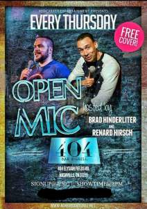 open mic comedy night at 404 Bar & Grill every Thursday