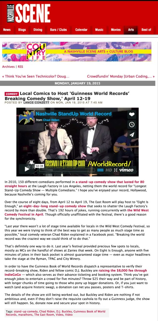 The Nashville Scene wrote up our Guinness World Records attempt on 1/19/2015