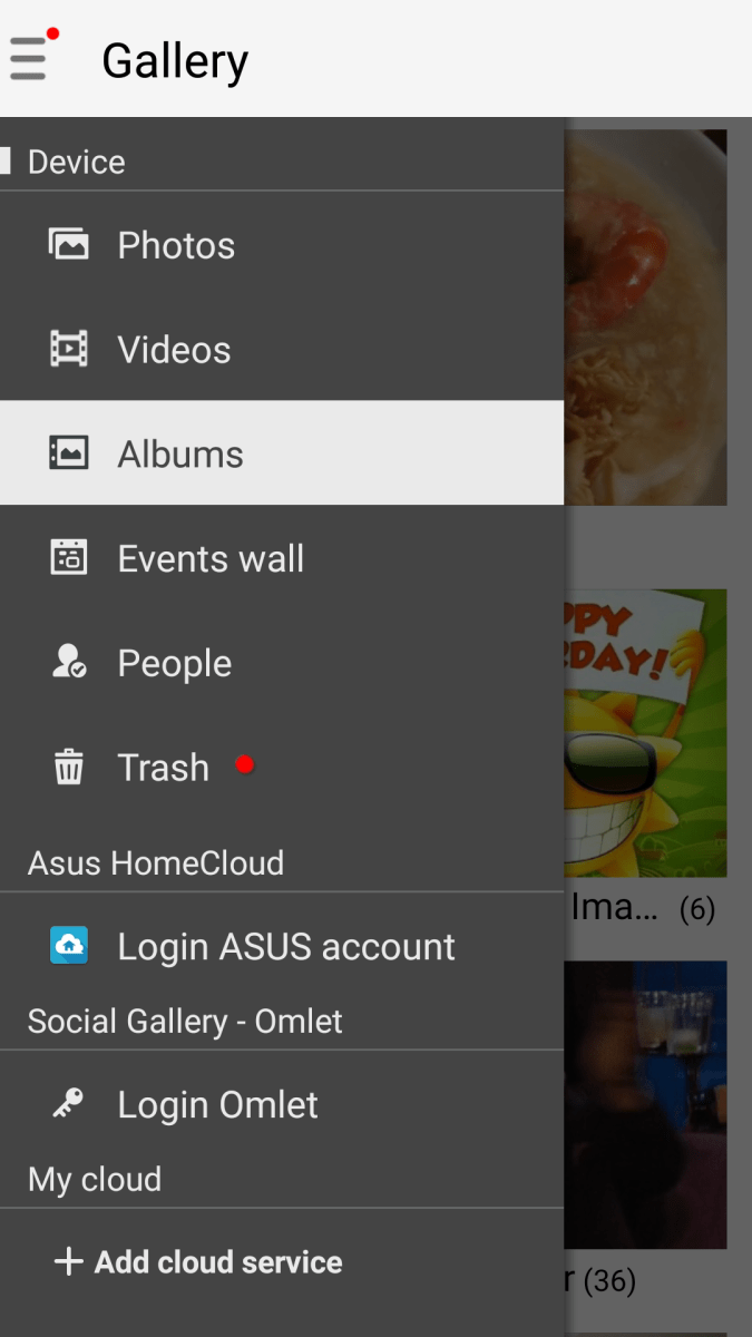 ASUS Gallery features trash function