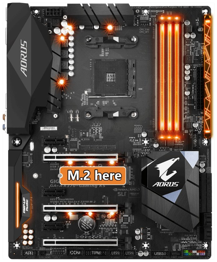 Gigabyte Aorus GA-AX370-Gaming K5 M.2 Slot Placement