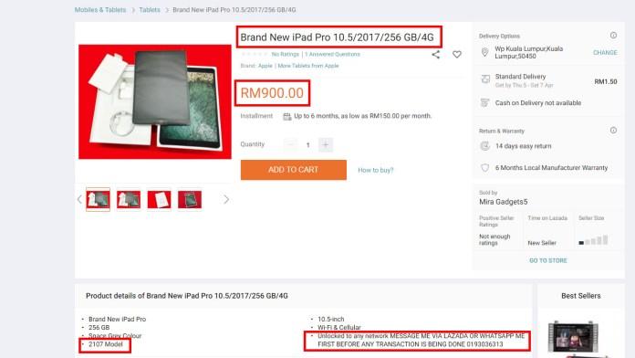 Lazada Scam iPad Pro