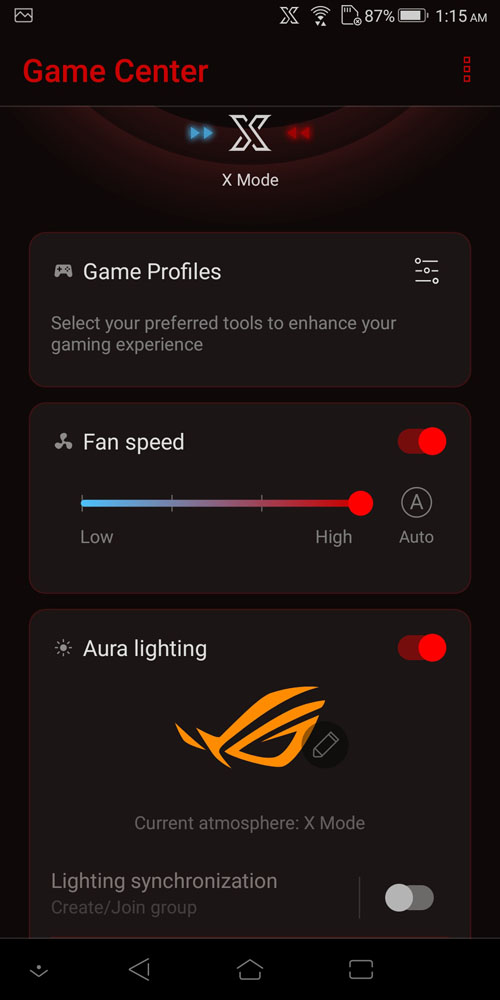 ASUS ROG Phone Game Center