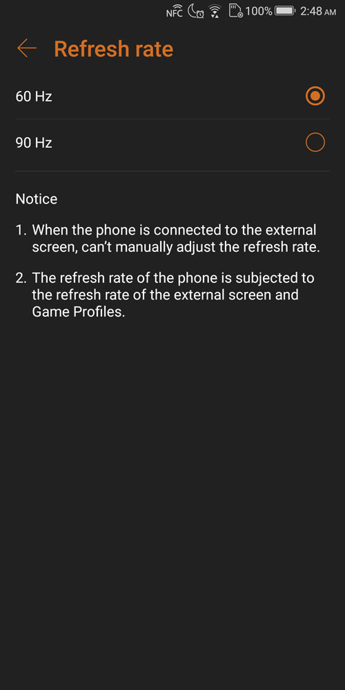 ASUS ROG Phone refresh rate settings in Settings menu