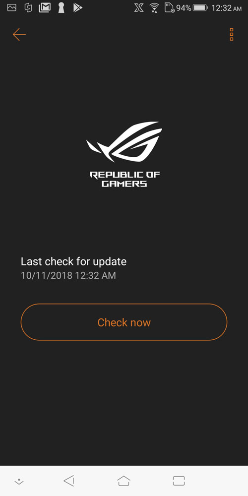 ASUS ROG Phone software update page