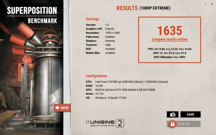 ASUS ROG Zephyrus S GX531 Superposition benchmark