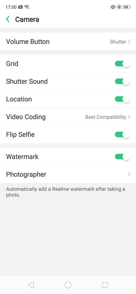 Realme 2 Pro camera setting