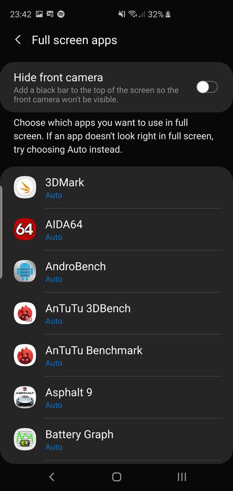 Samsung Galaxy S10 Galaxy S10+ screen mode